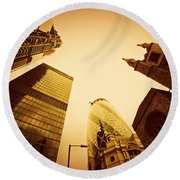 Business Architecture Skyscrapers In London Uk Golden Tint Round Beach Towel