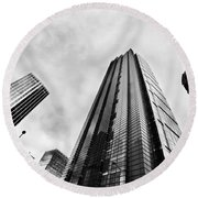 Business Architecture Skyscrapers In London Uk Round Beach Towel