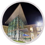 Business Building At Night Round Beach Towel
