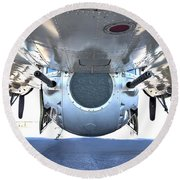 Business End Of A Ball Turret Round Beach Towel