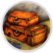 Business Man - Packed Suitcases Round Beach Towel