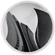 Business Skyscrapers Abstract Conceptual Architecture Round Beach Towel by Michal Bednarek