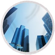 Business Skyscrapers Round Beach Towel by Michal Bednarek