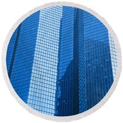 Business Skyscrapers Modern Architecture In Blue Tint Round Beach Towel by Michal Bednarek