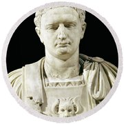 Bust Of Emperor Domitian Round Beach Towel by Anonymous