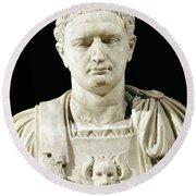 Bust Of Emperor Domitian Round Beach Towel