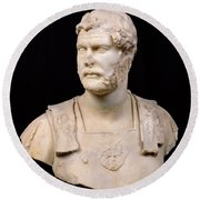 Bust Of Emperor Hadrian Round Beach Towel by Anonymous
