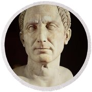 Bust Of Julius Caesar Round Beach Towel