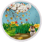 Buster And The Tree Round Beach Towel