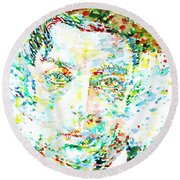 Buster Keaton - Watercolor Portrait Round Beach Towel