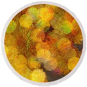 Busy Bee In The Marigolds Round Beach Towel
