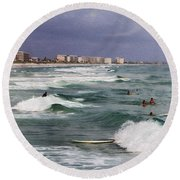 Busy Day In The Surf Round Beach Towel