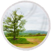 But Only God Can Make A Tree Round Beach Towel by Semmick Photo