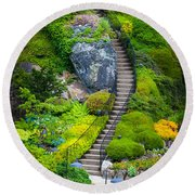 Butchart Gardens Stairs Round Beach Towel
