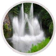 Butchart Gardens Waterfalls Round Beach Towel