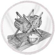 Butter Churn Circa 1822 Round Beach Towel