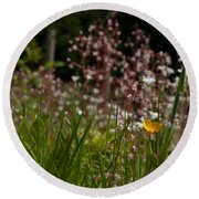 Buttercup And Wildflowers Round Beach Towel