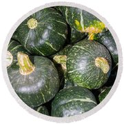 Buttercup Winter Squash On Display Round Beach Towel