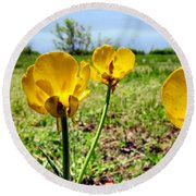 Buttercups Round Beach Towel