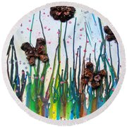 Butterflies And Flowers Round Beach Towel