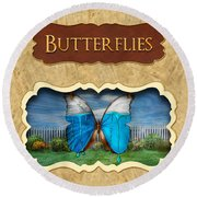 Butterflies Button Round Beach Towel