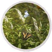 Butterflies In Golden Garden Round Beach Towel