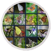 Butterflies Squares Collage Round Beach Towel