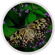Butterfly - Yellow Green Purple Round Beach Towel