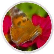 Butterfly-5416-fractal Round Beach Towel