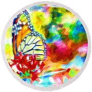 Butterfly Abstracted Round Beach Towel