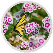 Butterfly And Blooms - Spring Flowers And Tiger Swallowtail Butterfly. Round Beach Towel