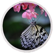 Butterfly And Blossoms Round Beach Towel