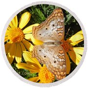 Butterfly And Daisies Round Beach Towel