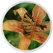 Butterfly And Lily Round Beach Towel