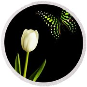Butterfly And Tulip Round Beach Towel