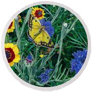 Butterfly And Wildflowers Spring Floral Garden Floral In Green And Yellow - Square Format Image Round Beach Towel