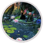 Butterfly Ball Pond Round Beach Towel