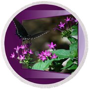 Butterfly Black 16 By 20 Round Beach Towel