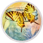 Butterfly Blue Glass Jar Round Beach Towel