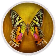 Butterfly - Butterfly Of Happiness  Round Beach Towel