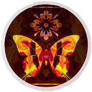 Butterfly By Design Abstract Symbols Artwork Round Beach Towel