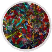 Butterfly Collage Red Round Beach Towel