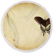 Butterfly Flower Round Beach Towel
