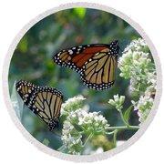 Butterfly Garden - Monarchs 01 Round Beach Towel