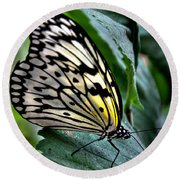 Butterfly - Green Leaf Round Beach Towel
