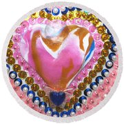 Butterfly-heart Detail Round Beach Towel