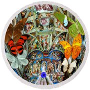 Butterfly In Cappella Sistina Sistinechapel Round Beach Towel