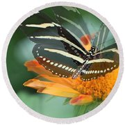 Butterfly In Motion #1968 Round Beach Towel