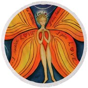 Butterfly Mantra Round Beach Towel