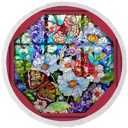 Butterfly Octagon Stained Glass Window Round Beach Towel